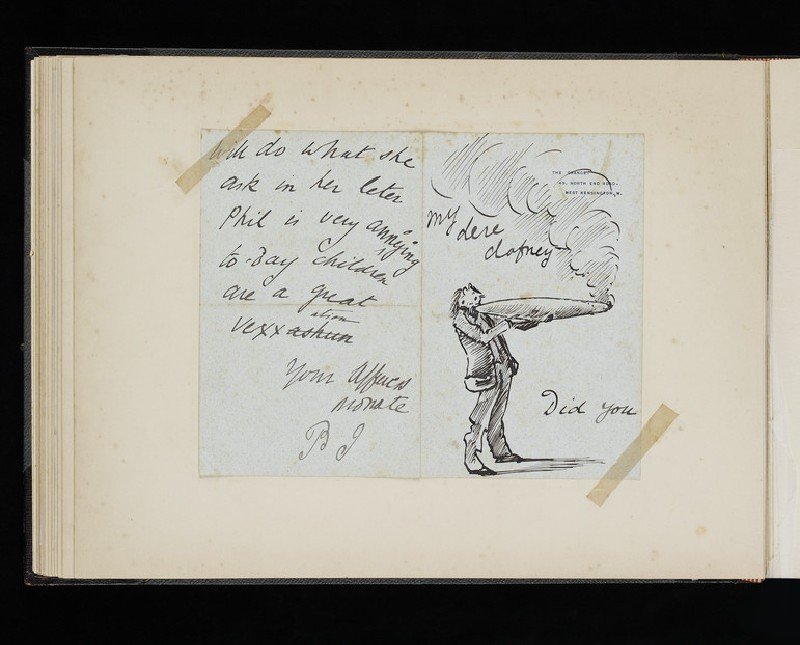 Illustrated letter with self-portrait of Burne-Jones smoking a giant cigar