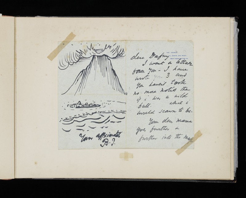 Illustrated letter with an erupting volcano