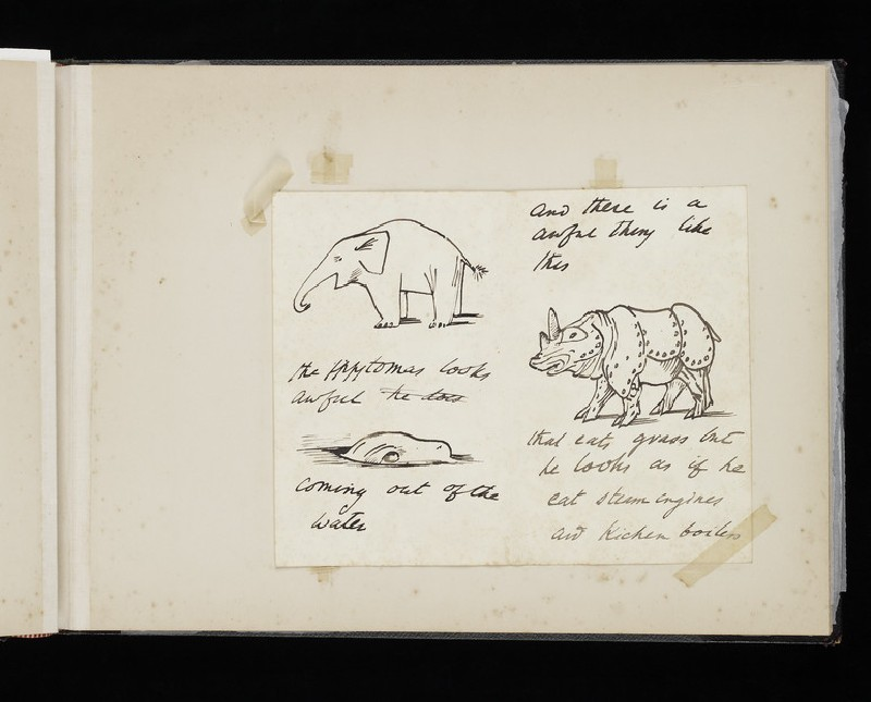 Illustrated letter with a rhinoceros, an elephant, and a hippopotamus