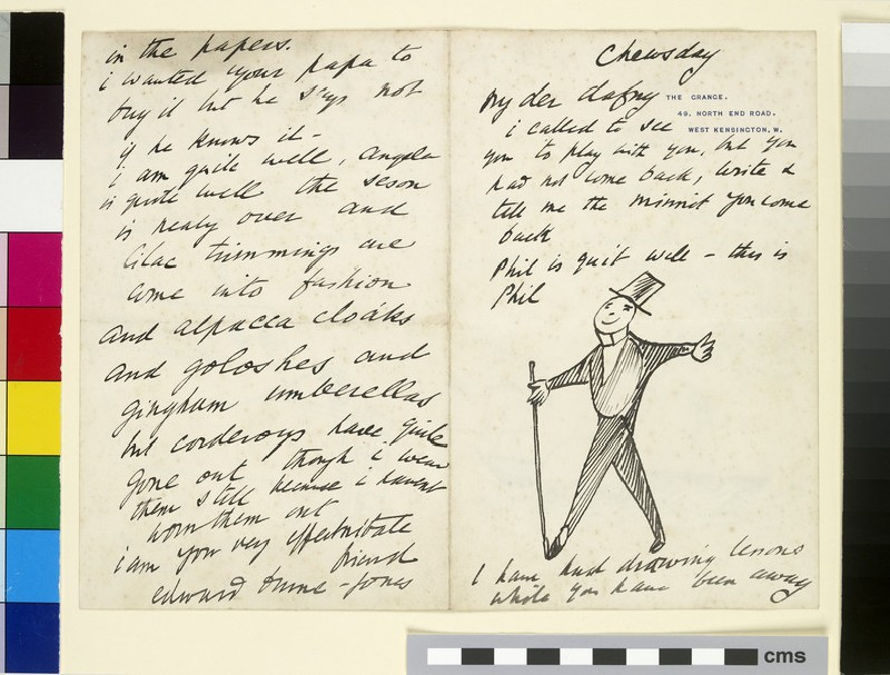 Illustrated letter with caricature of the artist's son, Philip Burne-Jones (Phil)