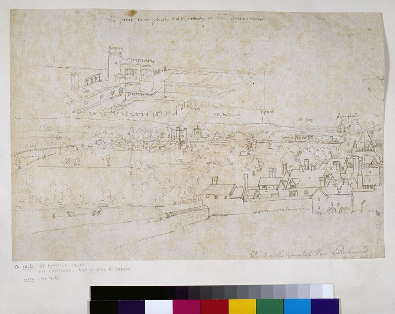 Sheet of Studies of the Palaces of Hampton Court and Richmond and Surrounding Countryside (WA.Suth.L.4.12.1)