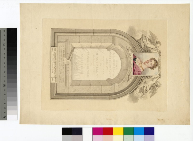 Print commemorating the death of Princess Charlotte of Wales, with small portrait in colour