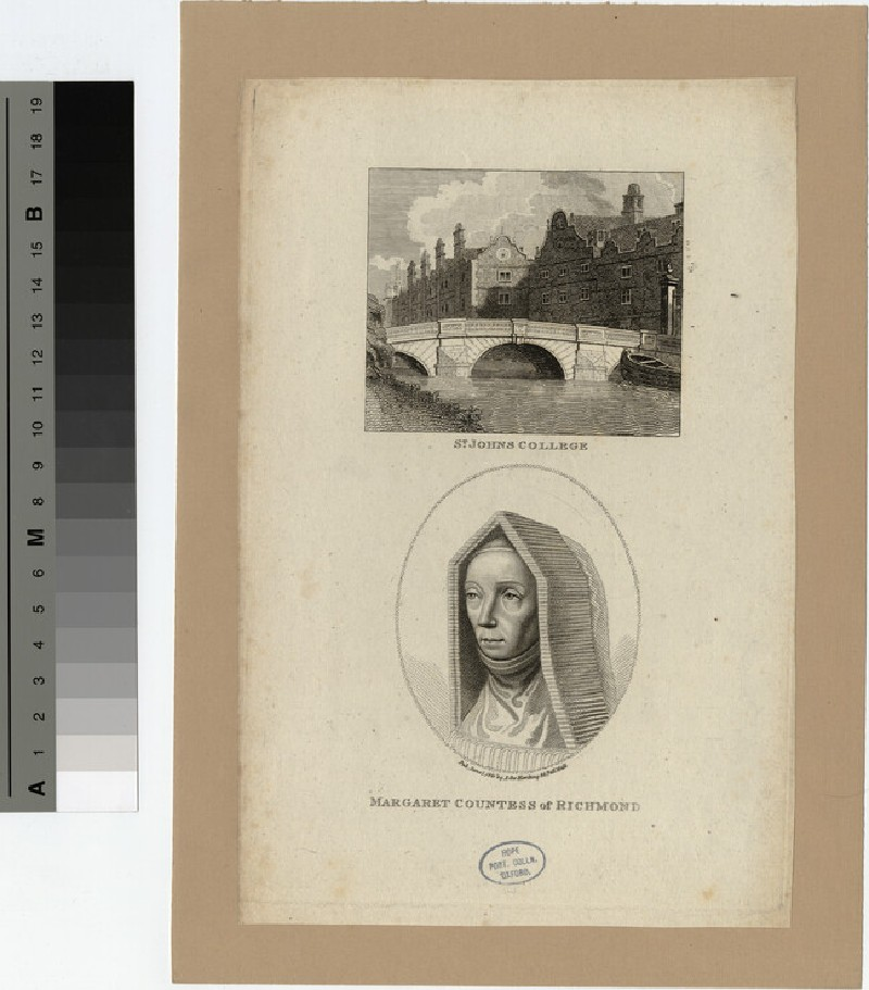 Portrait of Margaret, Countess of Richmond, with a view of the bridge at St John's College, Cambridge