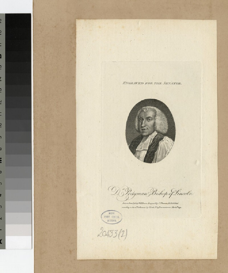 Portrait of Dr Pretyman, Bishop of Lincoln, illustration to The Senator (WAHP20433.2)
