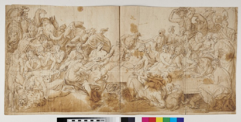 Recto: A Banquet: Scene from classical mythology
