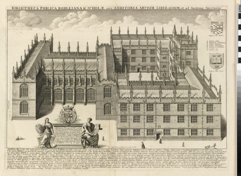 Bodleian Library and Schools Quadrangle from the South, from 'Oxonia illustrata' (1675)