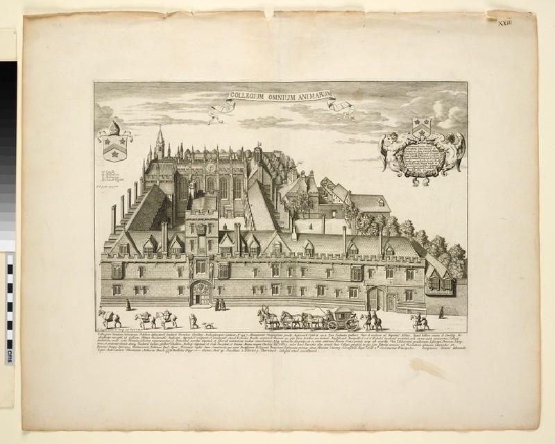 Collegium Omnium Animarum (College of All Souls), from 'Oxonia illustrata' (1675)