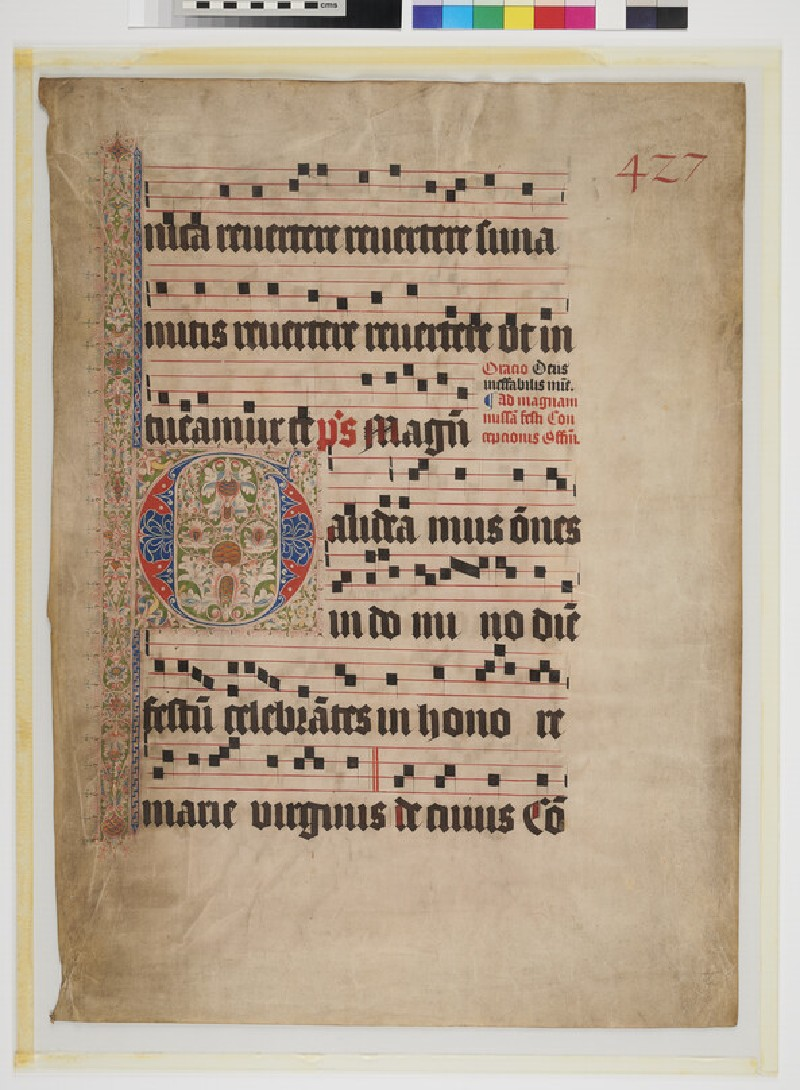 Sheet of music of a Gradual with illuminated capital G