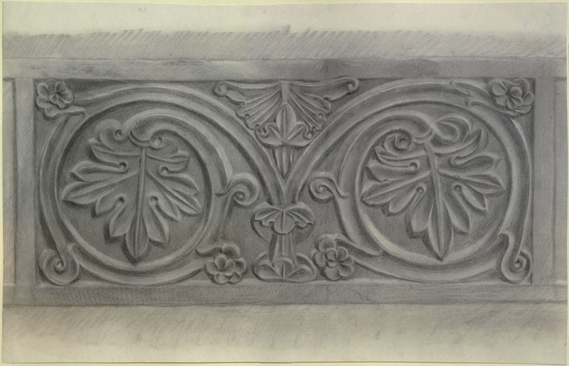 Study of a relief Vine-leaf Pattern (WA.RS.ED.016, Burgess, Arthur - Study of a relief Vine-leaf Pattern ())