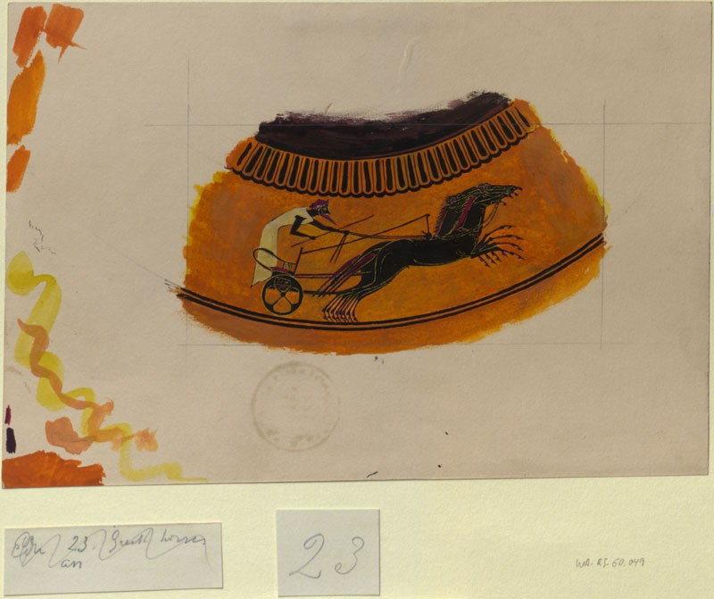 Drawing of a Chariot Race from a Greek Vase (WA.RS.ED.049, Burgess, Arthur - Drawing of a Chariot Race from a Greek Vase ())