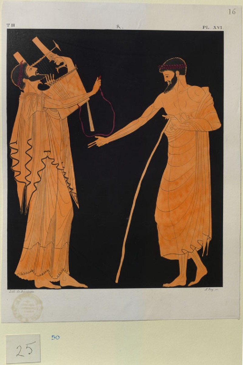 Print of the Decoration on a Greek Amphora, showing Apollo and a Man (WA.RS.ED.050, Rey, A. - Print of the Decoration on a Greek Amphora, showing Apollo and a Man ())
