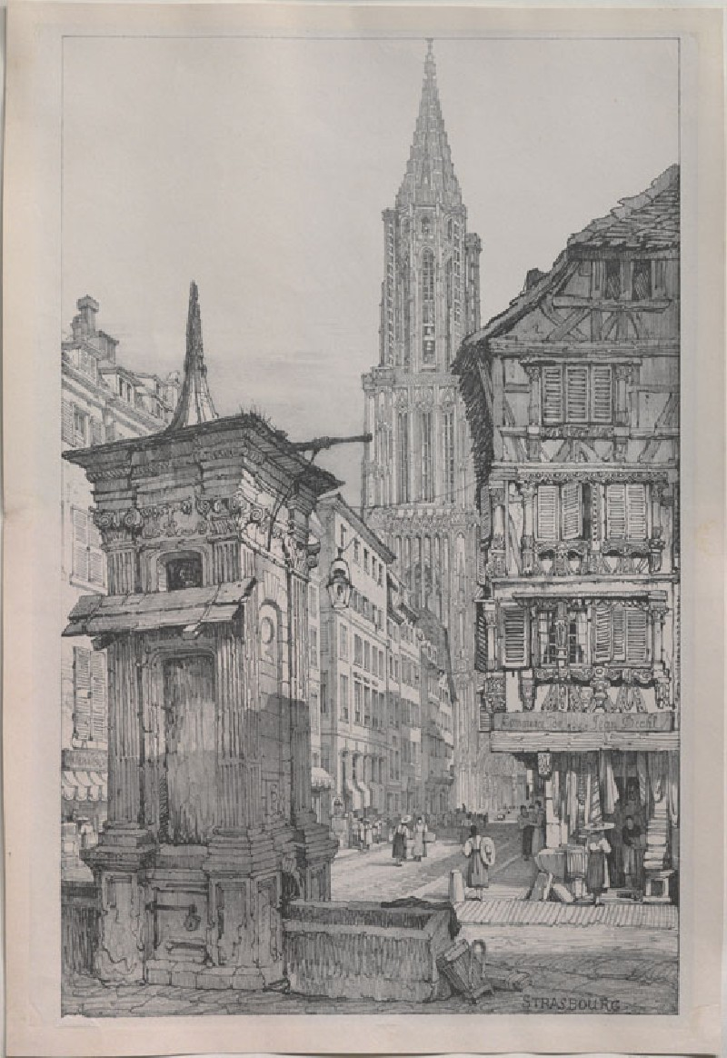 The Rue Mercière and west Front of Strasbourg Cathedral (WA.RS.ED.059, Prout, Samuel - The Rue Mercière and west Front of Strasbourg Cathedral ())