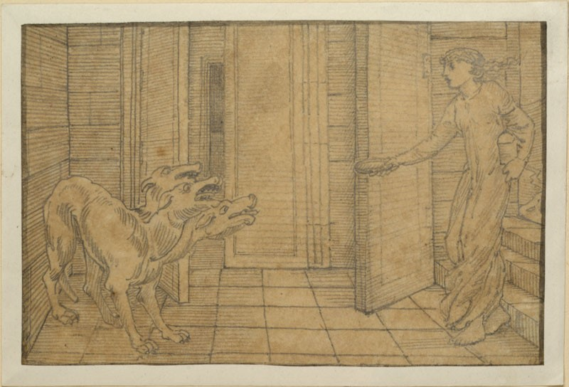 The Story of Cupid and Psyche: Cerberus (WA.RS.ED.072.a, Burne-Jones, Edward - The Story of Cupid and Psyche: Cerberus ())