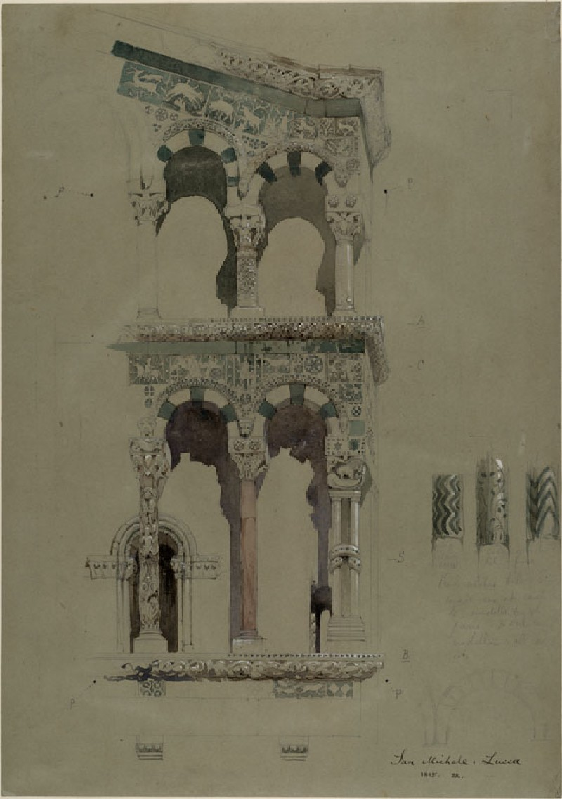 Part of the Façade of the destroyed Church of San Michele in Foro, Lucca, as it appeared in 1845 (WA.RS.ED.083, Ruskin, John - Part of the Façade of the destroyed Church of San Michele in Foro, Lucca, as it appeared in 1845 ())