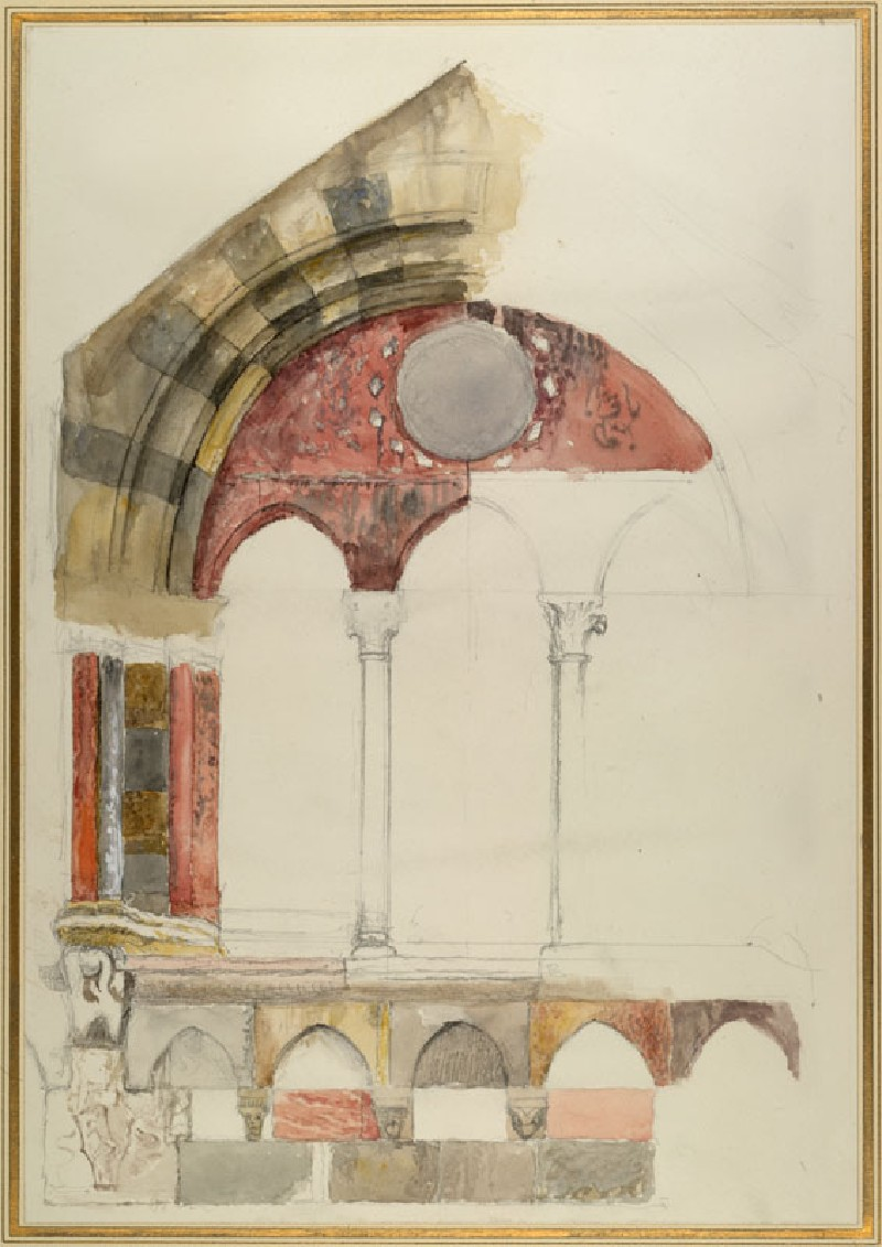 A Window of the Broletto, Como: rapid Sketch in Colour, showing Method of inlaying Marbles (WA.RS.ED.087, Ruskin, John - A Window of the Broletto, Como: rapid Sketch in Colour, showing Method of inlaying Marbles ())
