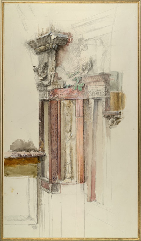 Pilaster on the unfinished Facade of Sant' Anastasia, Verona (WA.RS.ED.093, Ruskin, John - Pilaster on the unfinished Facade of Sant' Anastasia, Verona ())
