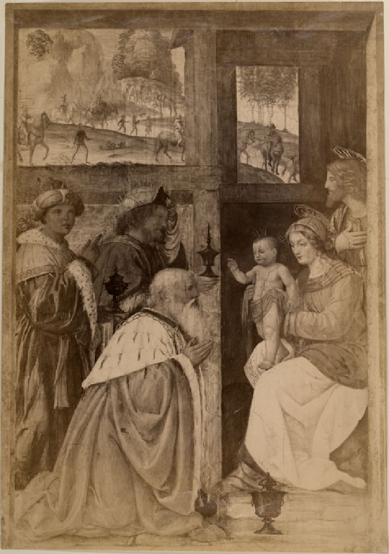 Photograph of Bernardino Luini's 'Adoration of Magi' in the Louvre (WA.RS.ED.099, unidentified - Photograph of Bernardino Luini's