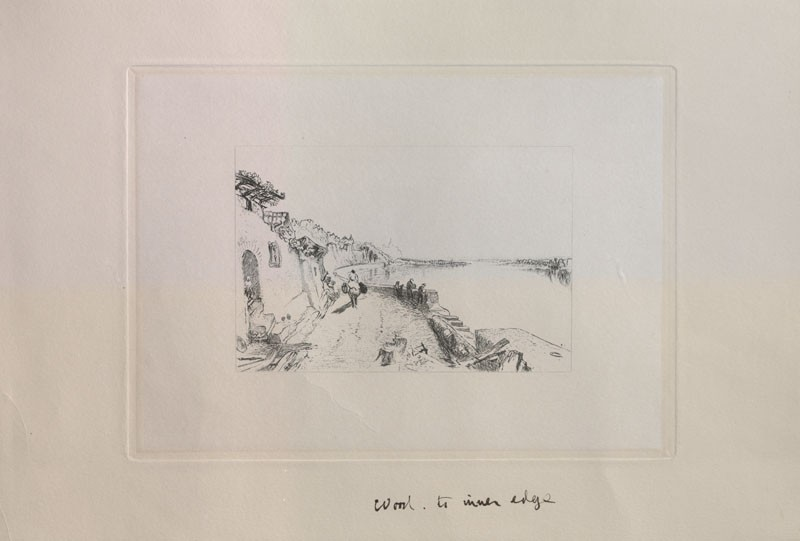Etching of Turner's Drawing of 'Rietz, near Saumur'