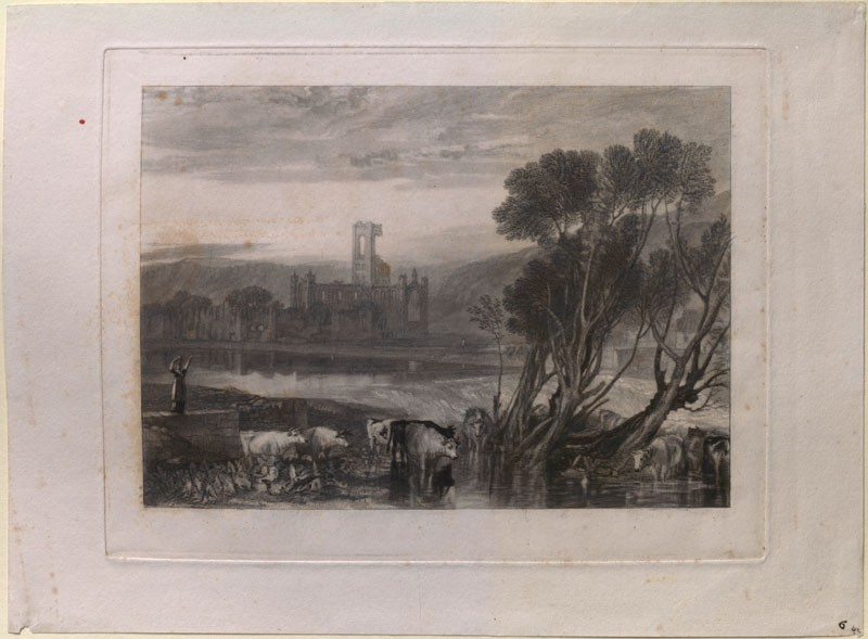 Mezzotint of Turner's 'Kirkstall Abbey, on the River Aire'