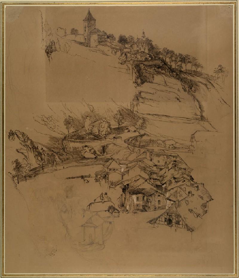 Fribourg, Switzerland: Pen sketch (WA.RS.ED.114.a, Ruskin, John - Fribourg, Switzerland: Pen sketch ())