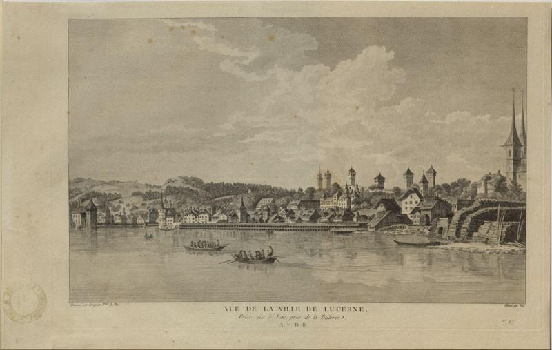 View of the City of Luzern, taken on the Lake, near the Tuilerie (WA.RS.ED.115, Née, François Denis, after Alexis Nicolas Perignon I - View of the City of Luzern, taken on the Lake, near the Tuilerie ())