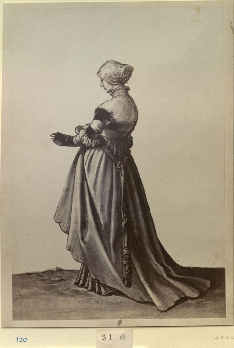 Photograph of Holbein's Drawing of a Woman from Basel, turned to the left