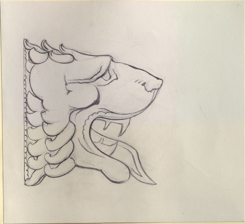 Drawing of a Lion's Profile from a Greek Coin
