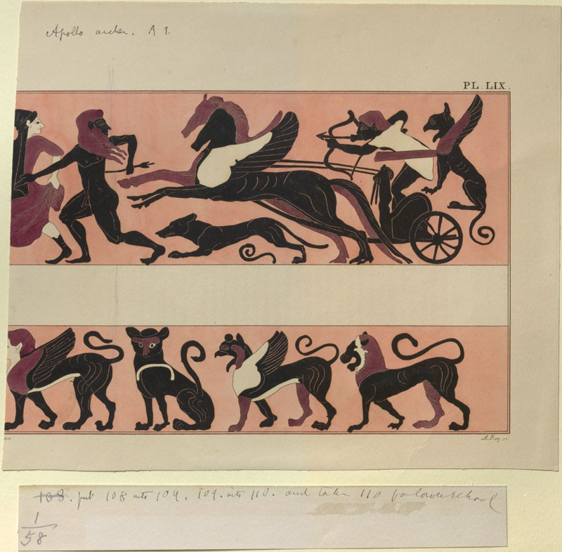 Print of the Decoration on a Black-Figure Amphora, showing Apollo pursuing Phlegyon (WA.RS.ED.158.a, Rey, A. - Print of the Decoration on a Black-Figure Amphora, showing Apollo pursuing Phlegyon ())