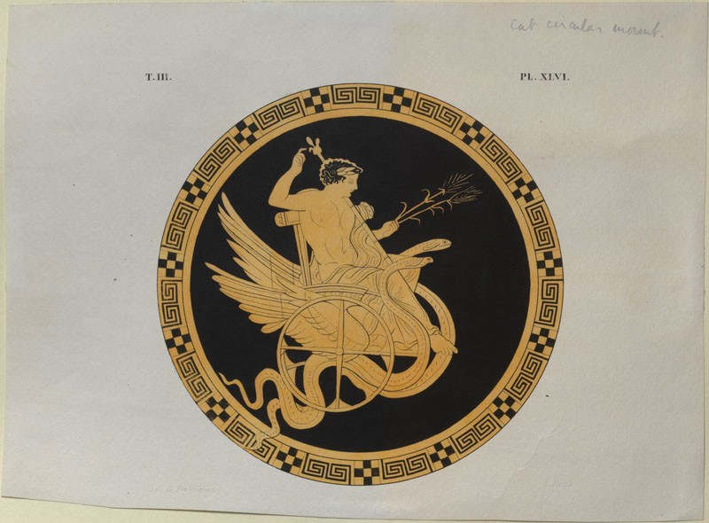 Print of the Decoration on a Greek Cylix, showing Triptolemus (WA.RS.ED.176.a, Petit, L. - Print of the Decoration on a Greek Cylix, showing Triptolemus ())