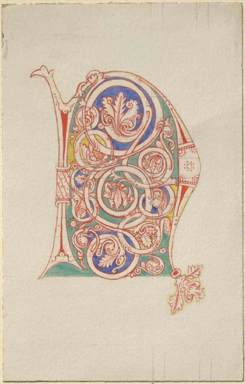 Drawing of an Initial 'N' from a twelfth-century illuminated Manuscript
