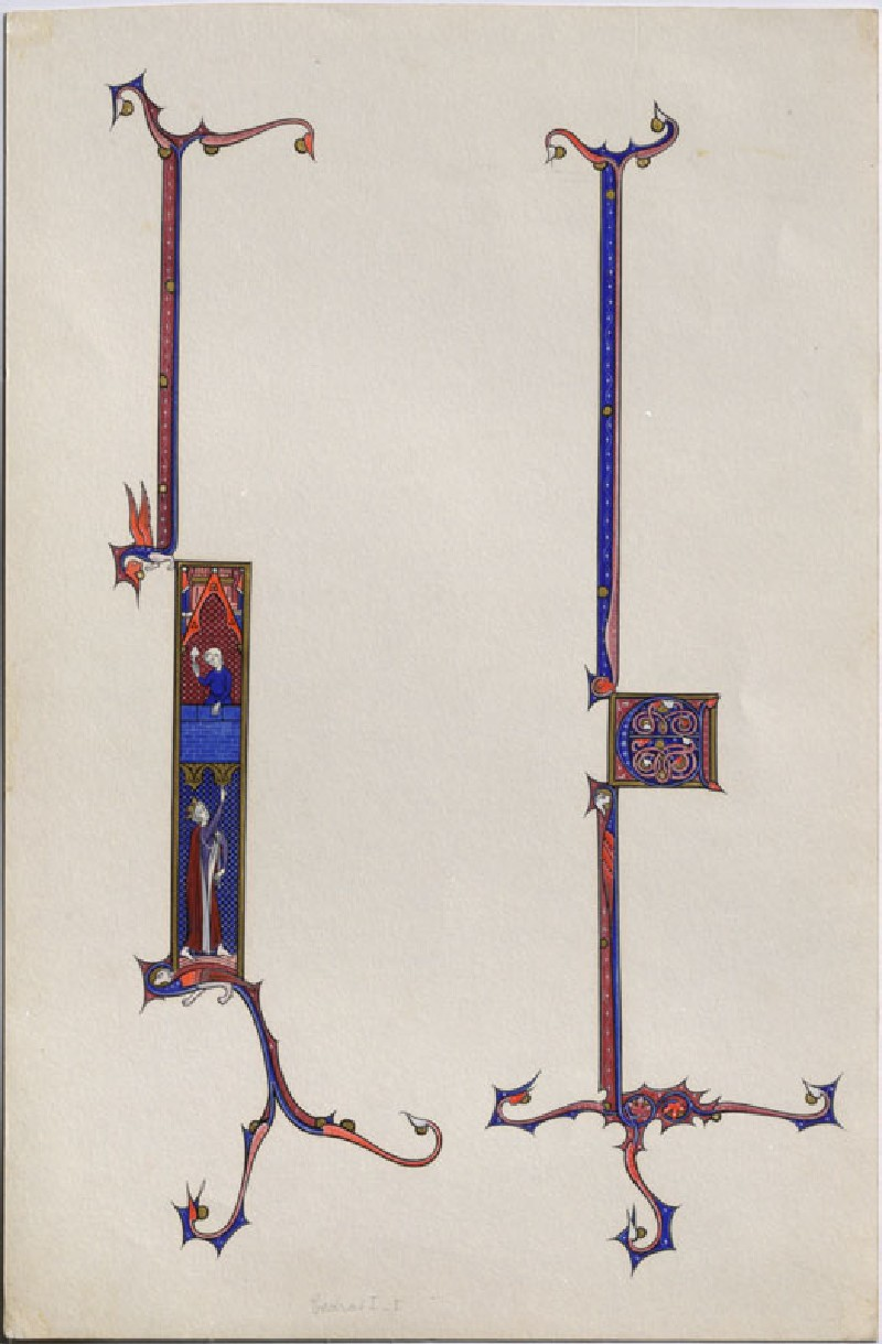 Drawing of two illuminated Initials from thirteenth century French Manuscripts