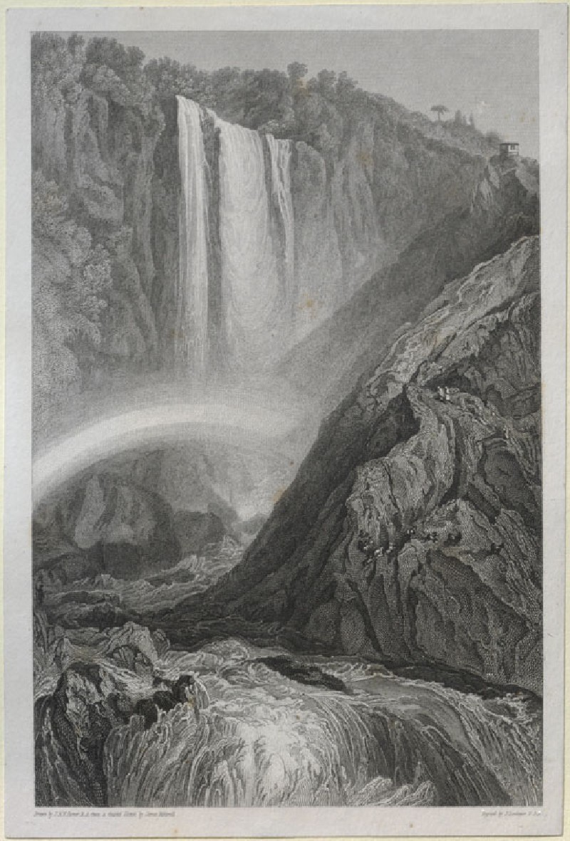 Engraving of Turner's 'Cascade at Terni'