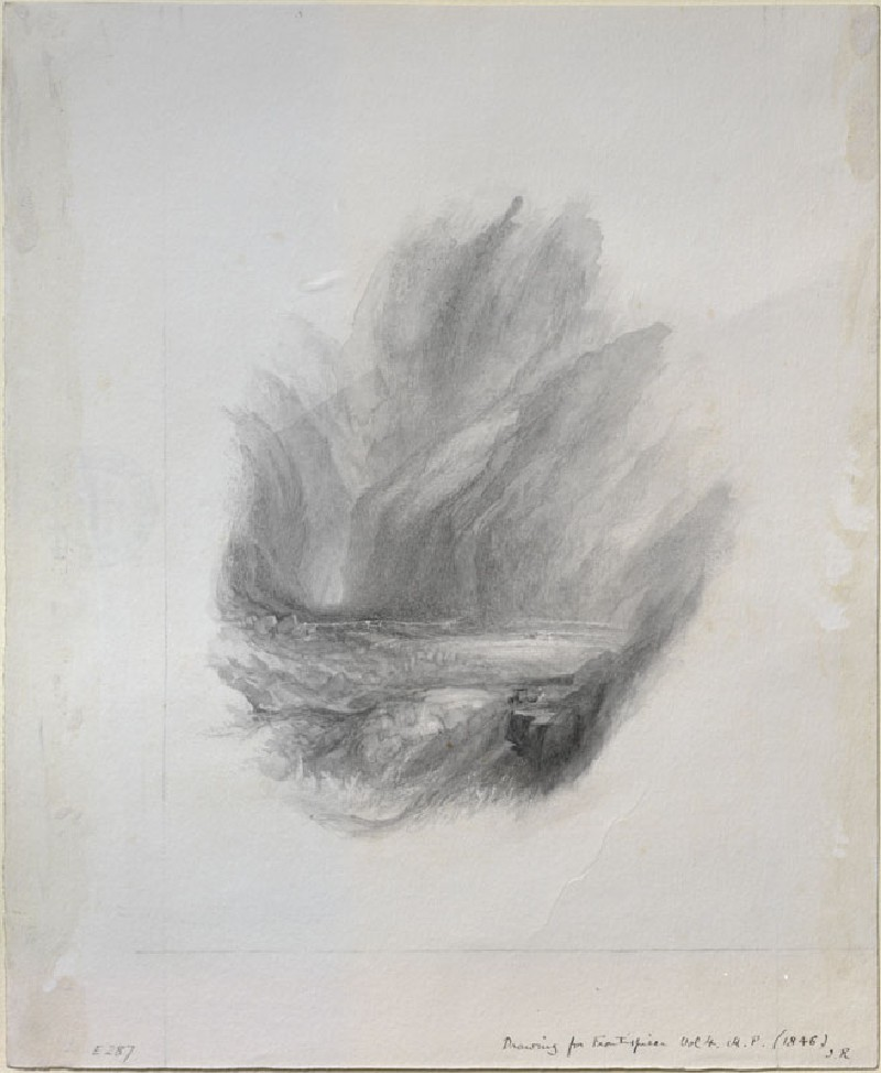 Study in Neutral Tint of Turner's 'The Pass of Faido' (WA.RS.ED.287, Ruskin, John - Study in Neutral Tint of Turner's