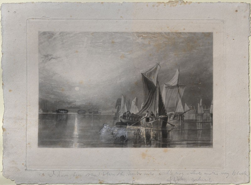 Touched proof Mezzotint of Turner's 'Stangate Creek, on the River Medway'