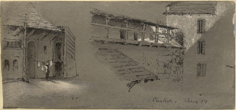 Two Studies of Architecture at Chillon (Leaf from a Sketch-Book) (WA.RS.LC.22, unidentified - Two Studies of Architecture at Chillon (Leaf from a Sketch-Book) ())
