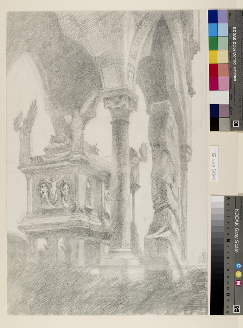 Study for General Chiaroscuro of the Sarcophagus and Canopy of the Tomb of Mastino II della Scala at Verona