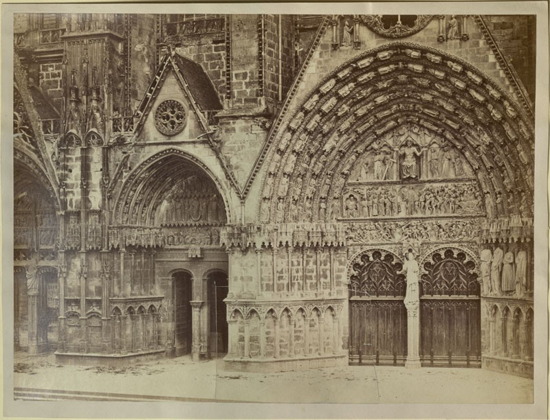 Photograph of the northern and central Porches of the west Front of Bourges Cathedral (WA.RS.REF.056, unidentified - Photograph of the northern and central Porches of the west Front of Bourges Cathedral ())