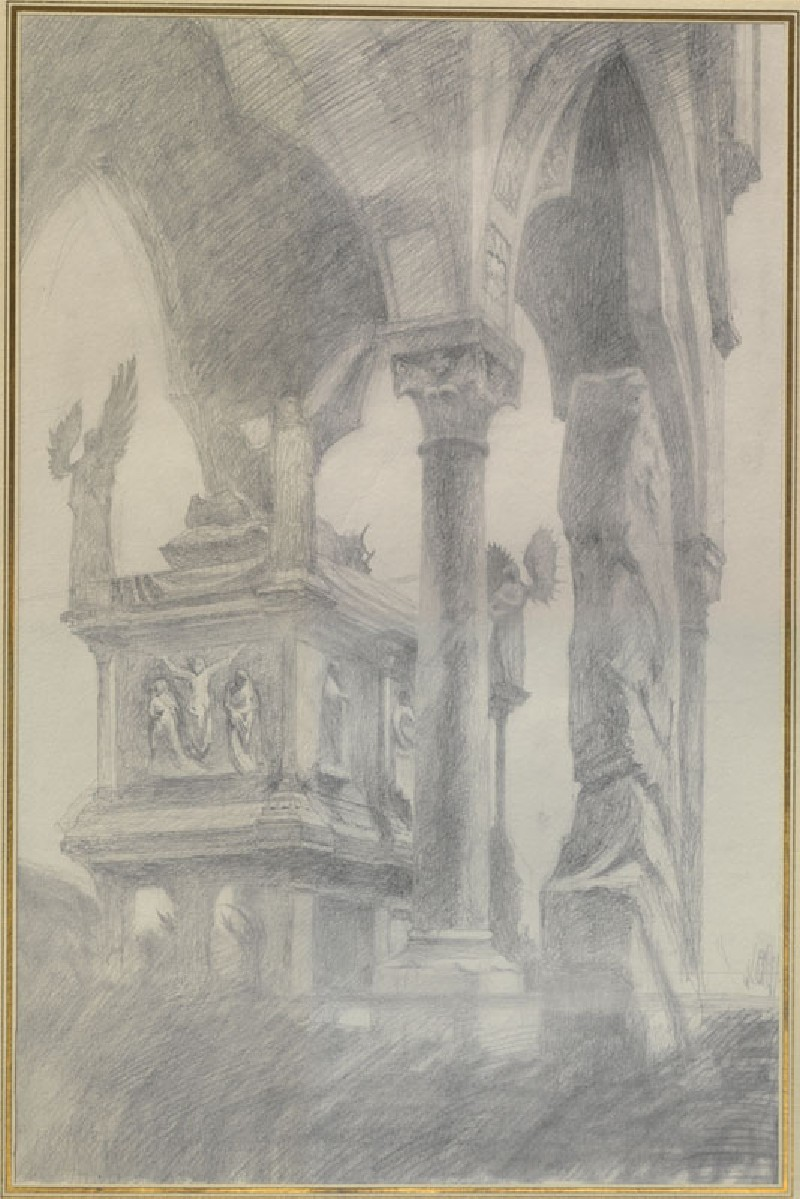 Study for General Chiaroscuro of the Sarcophagus and Canopy of the Tomb of Mastino II della Scala at Verona (WA.RS.REF.058, Ruskin, John - Study for General Chiaroscuro of the Sarcophagus and Canopy of the Tomb of Mastino II della Scala at Verona ())