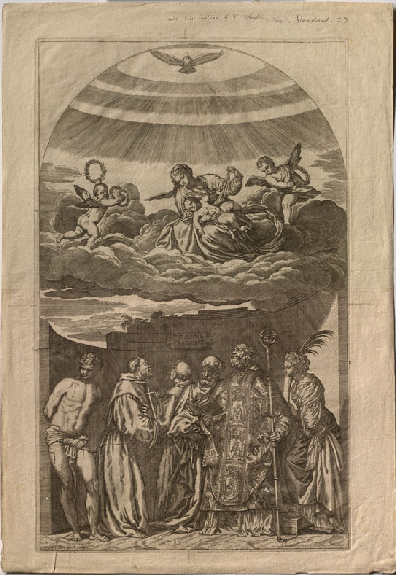 The Virgin and Child with Sts Catherine, Nicholas, Peter, Sebastian, Francis and Anthony of Padua (WA.RS.REF.105, Lefebvre, Valentin - Engraving of Titian's