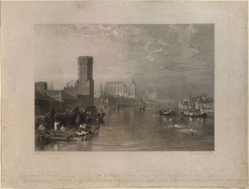 Engraving of Turner's 'Cologne, from the River' (WA.RS.REF.151, Goodall, Edward - Engraving of Turner's