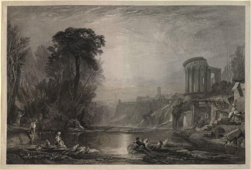 Engraving of Turner's 'Landscape: Composition of Tivoli'