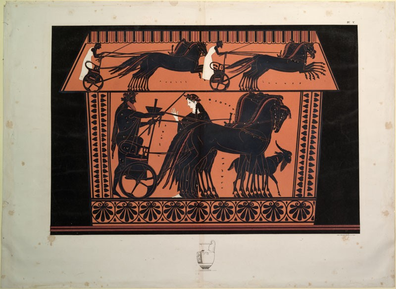 Print of the Decoration on a black-figure Greek Ceramic, showing the Resurrection of Semele (WA.RS.REF.183, Steffen, L. - Print of the Decoration on a black-figure Greek Ceramic, showing the Resurrection of Semele ())
