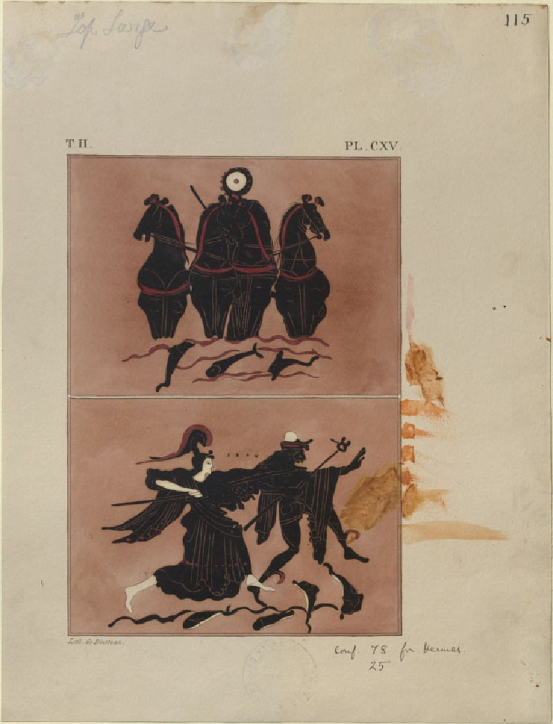 Print of the Decoration on a Greek Amphora, showing Helios, Athena and Hermes (WA.RS.REF.186.a, Bineteau, P. - Print of the Decoration on a Greek Amphora, showing Helios, Athena and Hermes ())