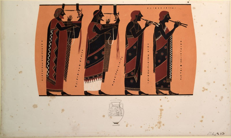 Print of the Decoration on a black-figure Greek Ceramic, showing the Panathenaic Procession