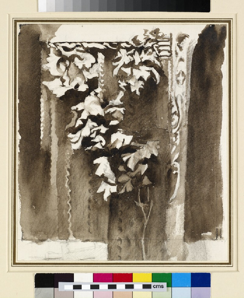 First Process of Sepia Sketch of Leafage: Study from Ruskin's Photograph of the Courtyard of a late Gothic wooden House at Abbeville (WA.RS.RUD.290)
