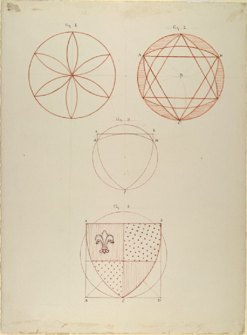 Four Diagrams showing the Construction of the Form of an English Shield (WA.RS.RUD.002, Ruskin, John - Four Diagrams showing the Construction of the Form of an English Shield ())