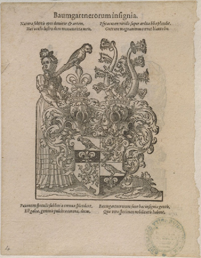 Recto: The Arms of the Baumgartner Family 