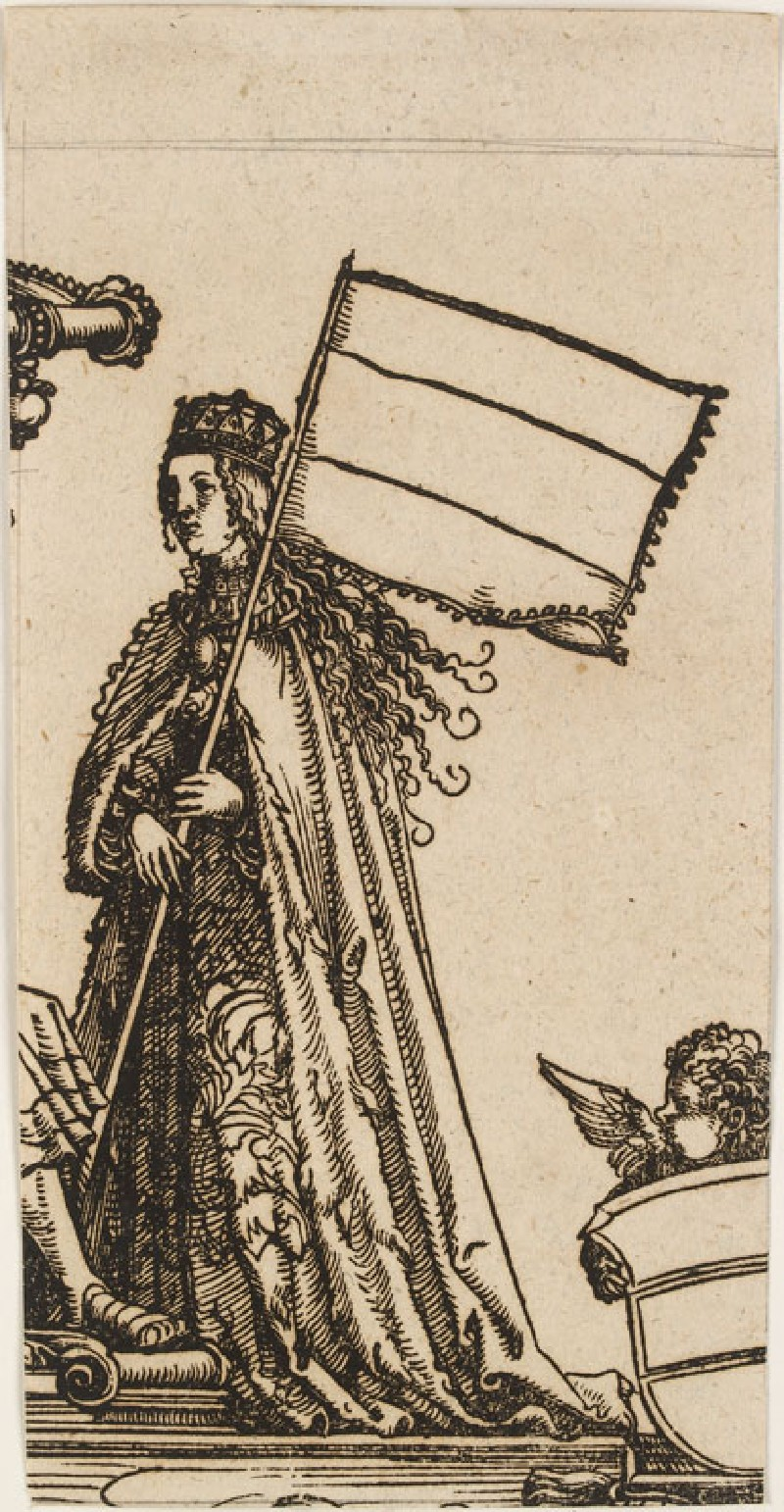 A Woman holding a Banner (cut from a Plate in 'The Triumph of Maximilian') (WA.RS.RUD.026, Schmidt, Mathias André - A Woman holding a Banner (cut from a Plate in