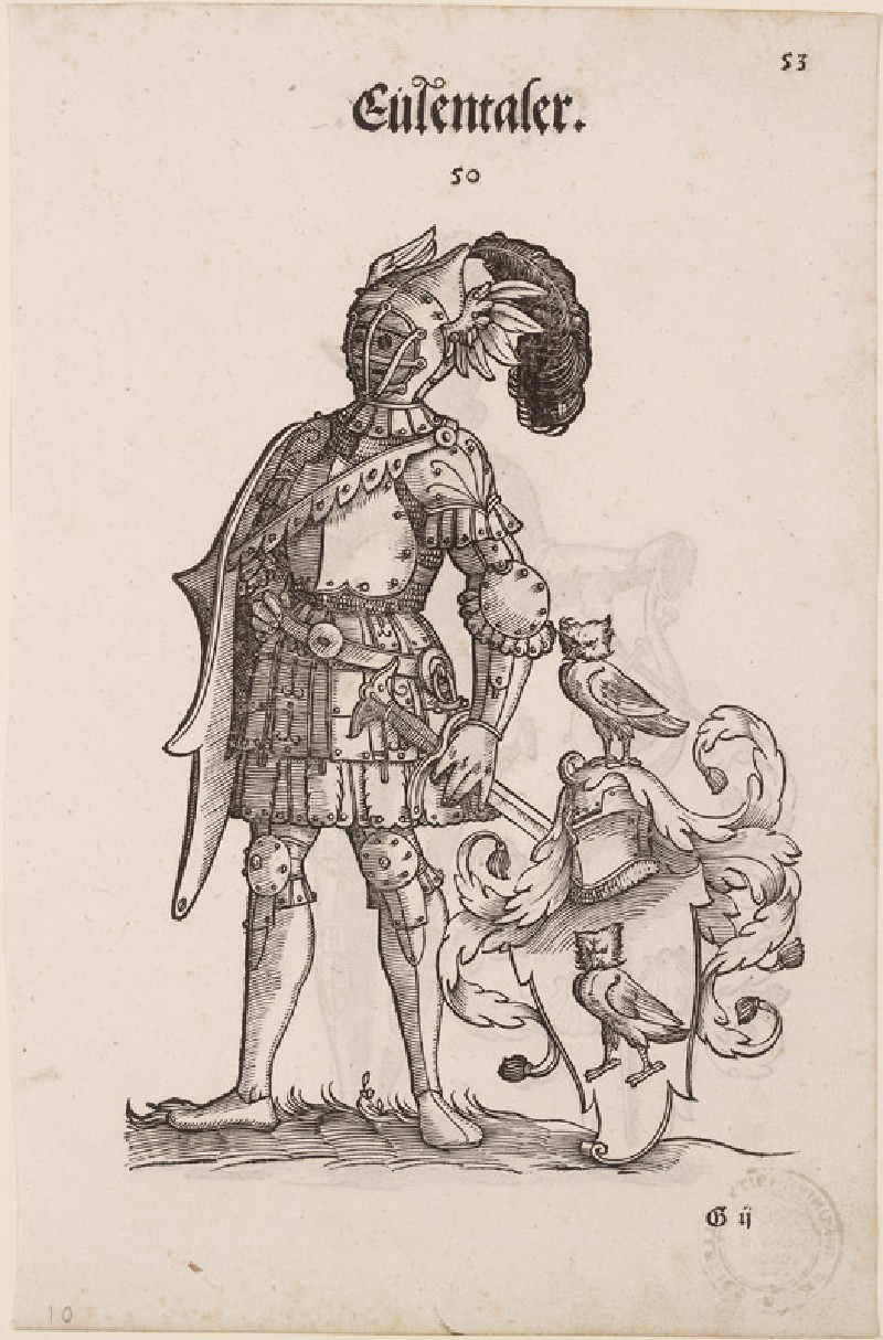 Recto: A Man in Armour with the Arms of Eulentaler 