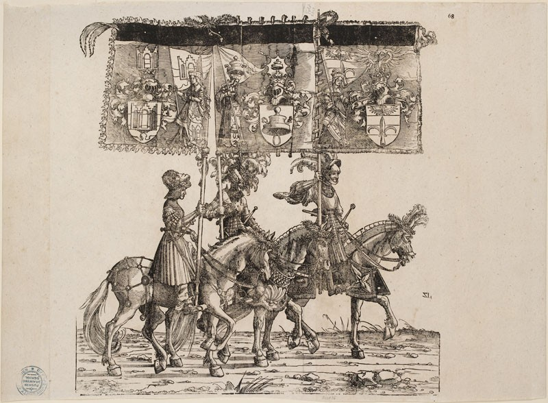 Three armoured Horsemen carrying heraldic Banners (cut from a Plate in 'The Triumph of Maximilian')